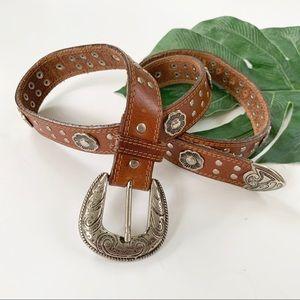 USMECO Paris Western Boho Leather Floral Stud Belt